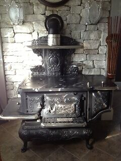 Antique Restored Fully Functional Kitchen Range Wood Burning Stove Pickup in NJ in Antiques, Home & Hearth, Stoves | eBay