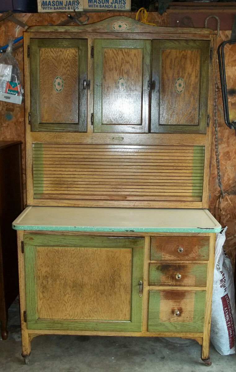 Antique SELLERS Kitchen Cabinet Made In Elwood Indiana By G I Sellers