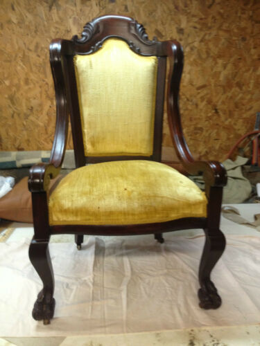 Antique Solid Mahogany Side or Parlor Chair Empire? Claw Foot Period Piece! in Antiques, Furniture, Chairs | eBay