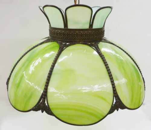 Antique Tiffany Style Green Kokomo Glass hanging Swag Lamp Light Fixture in Antiques, Architectural & Garden, Chandeliers, Fixtures, Sconces | eBay