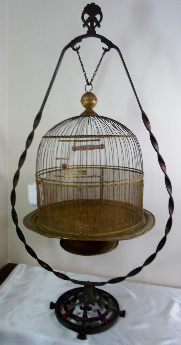 Antique Victorian Art Deco Nouveau Brass Hendryx Bird Cage Stand Glass Feeder