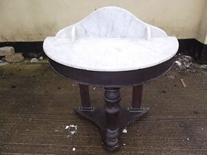 Antique-Victorian-Hall-Table-Bow-front-marble-top-three-legs-mahogany