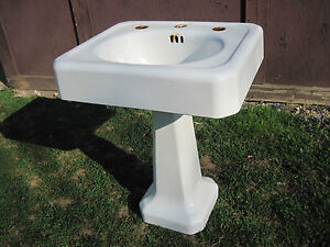 Antique Vintage American Standard Pedestal Sink Cast Iron