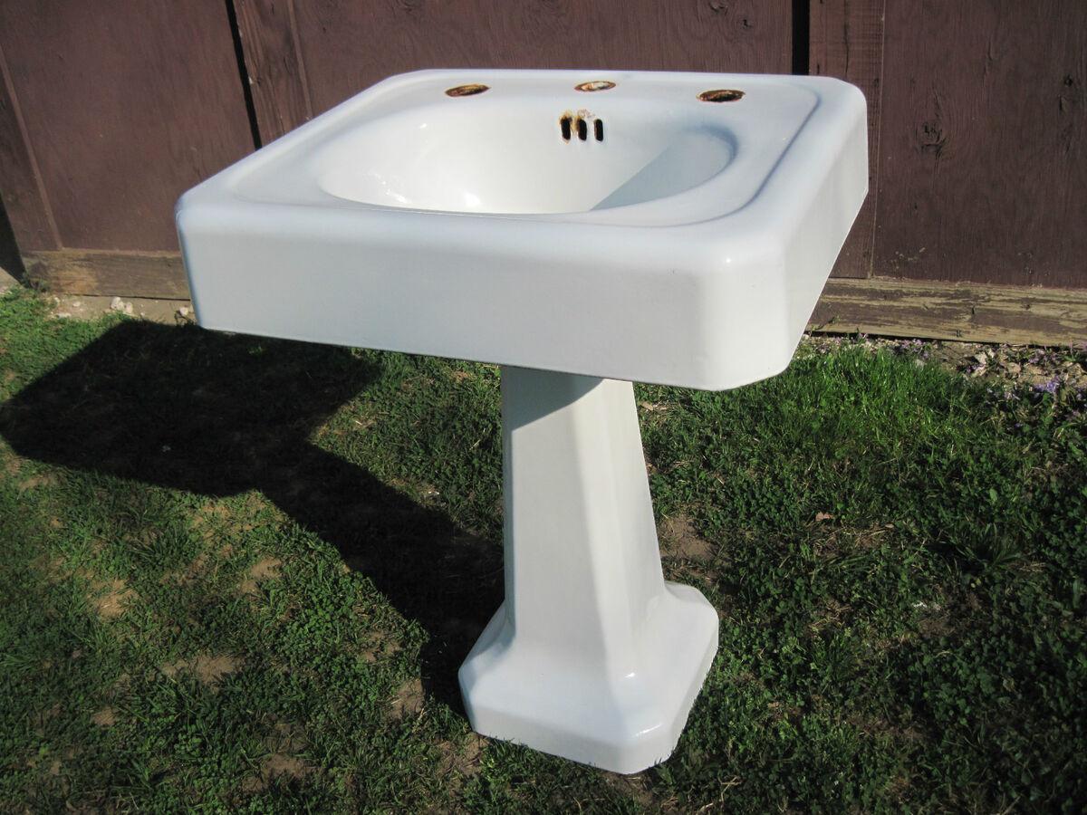 Antique Vintage American Standard Pedestal Sink Cast Iron