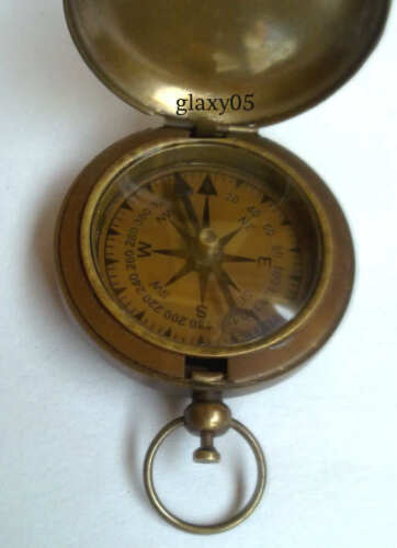 Antique Vintage Brass Nautical Anchor Pocket Compass / Delvey Compass in Antiques, Maritime, Compasses | eBay