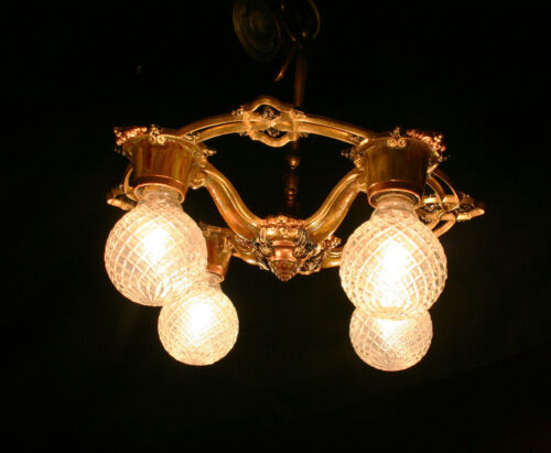 Antique Vintage Deco Victorian 4 light Ceiling fixture Chandelier Riddle RARE in Antiques, Architectural & Garden, Chandeliers, Fixtures, Sconces | eBay