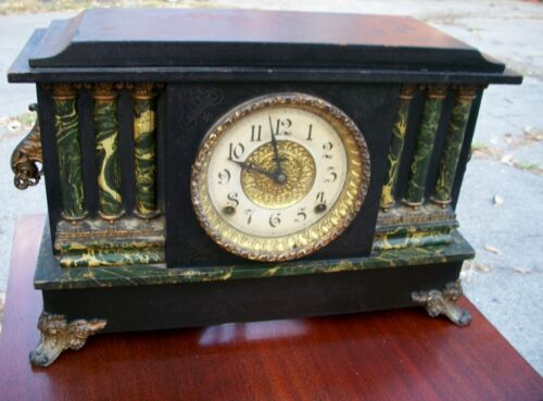 Antique Vintage E Ingraham 6 Column Faux Marble Cathedral Gong Mantle Desk Clock in Collectibles, Clocks, Antique (Pre-1930) | eBay