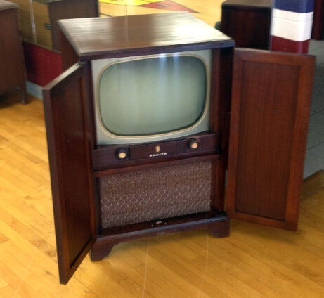 Antique Vintage Zenith Console Television Set with Closing Cabinet