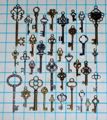 Antique Vtg old look skeleton key lot pendant heart bow lock steampunk jewelry in Collectibles, Tools, Hardware & Locks, Locks, Keys | eBay