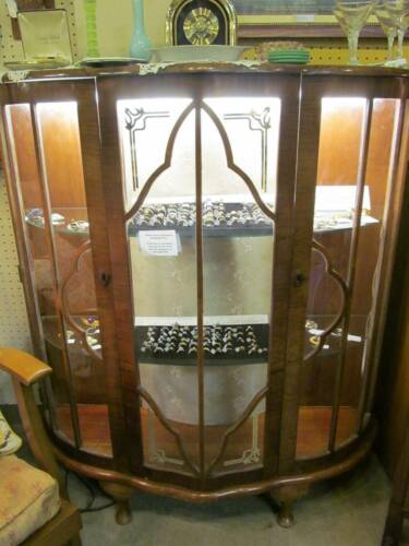 Antique Walnut Queen Anne China Display Cabinet in Antiques, Furniture, Cabinets & Cupboards | eBay