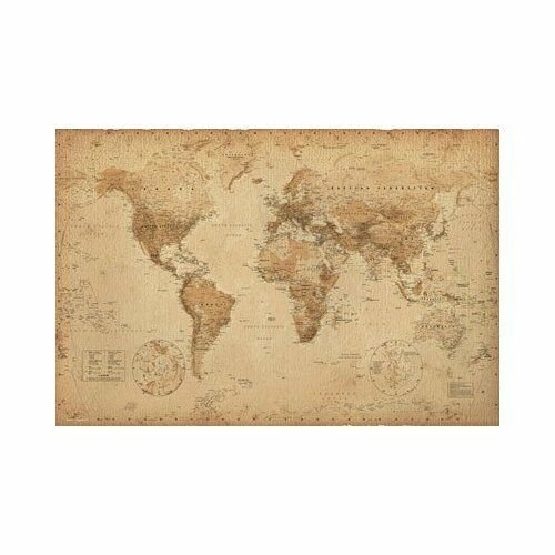 Antique World Map - World Map Poster in Antiques, Maps, World Maps | eBay