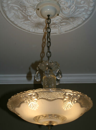 Antique vintage glass deco light fixture ceiling chandelier frosted in Antiques, Architectural & Garden, Chandeliers, Fixtures, Sconces | eBay