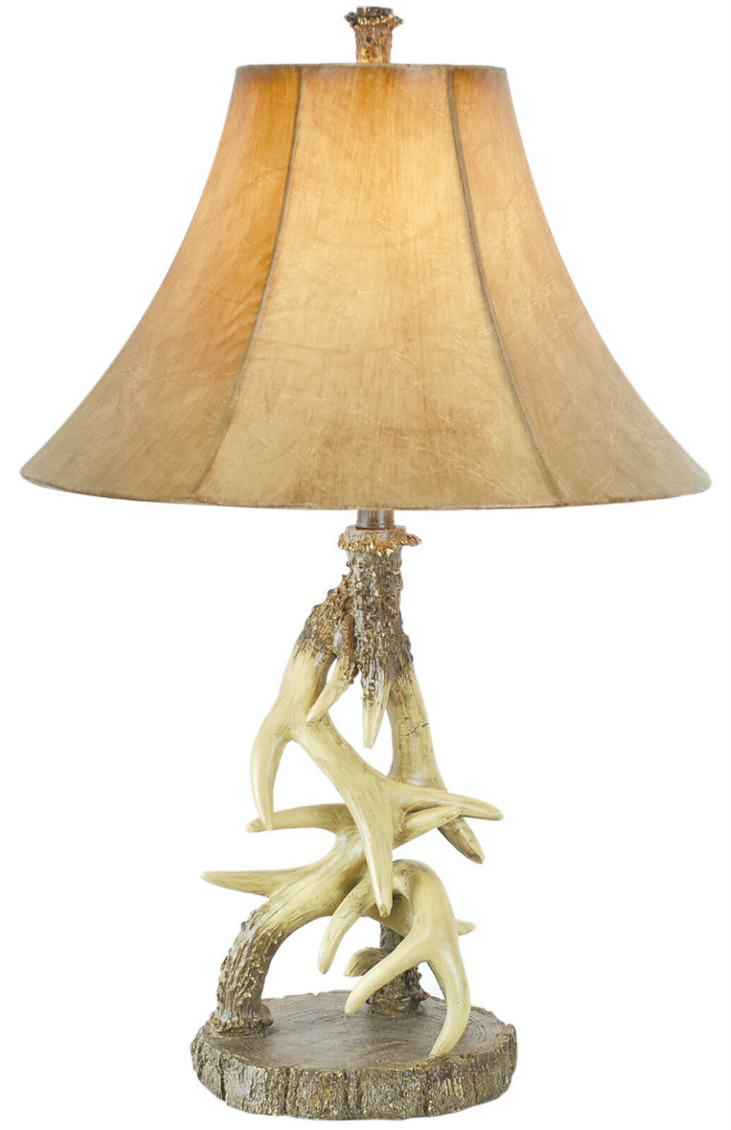 Antler table lamp 29in faux leather shade 3 way 100w for Log cabin chandelier