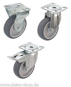 Apparaterollen-Gummi-grau-Platte-50-75-100-125-Lenkrolle-Transportrolle-Bremse