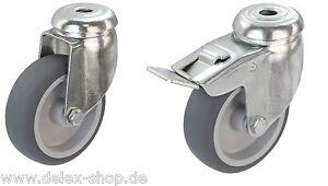 Apparaterollen-Gummi-grau-Rueckenloch-50-75-100-125-Lenkrolle-Transportrolle
