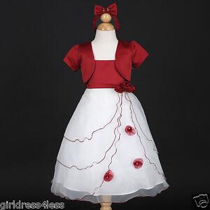 Apple red white christmas holiday flower girl dress bolero jacket sz 2