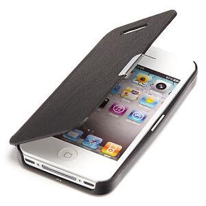 Apple-iPhone-4-4S-Slim-Flip-Case-Leder-Tasche-Schutz-Huelle-Cover-Etui-Schwarz