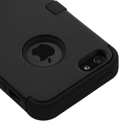 Apple iPhone 5 Hard Hybrid Case Snap On Phone Cover Black / Blk Silicone TUFF M