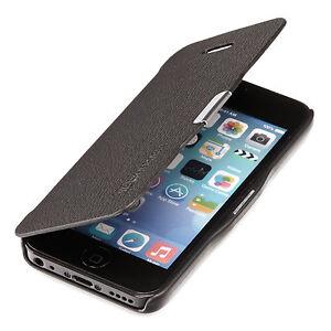 Apple-iPhone-5C-Slim-Flip-Case-Kunst-Leder-Tasche-Schutz-Huelle-Cover-Schwarz