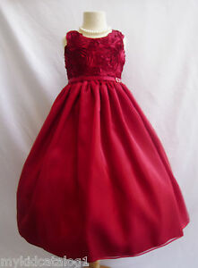 Apple red holiday christmas party gown wedding flower girl dress size