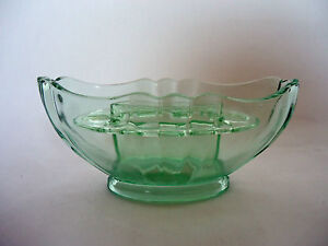 Art-Deco-Green-Glass-Bristol-Bowl-by-Bagley-Perfect-Condition-With-Frog