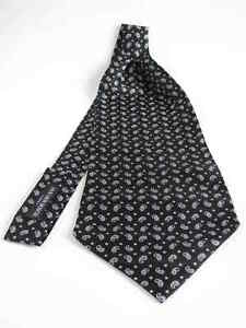 Ascot-Krawattenschal-reine-Seide-schwarz-Paisley-NEU