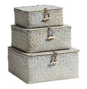 Aufbewahrungkoerbe-3er-Set-von-Nordal-blau-natur-Koerbe-Boxen-Seegras-Shabby