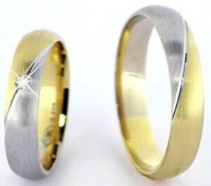 Ausgefallene Eheringe Trauringe 585 Gold 14 Kt Gelb & Weißgold Massiv ...