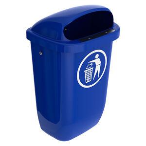 Aussen-Abfallbehaelter-Muelleimer-Abfalleimer-50-Ltr-Kunststoff-blau