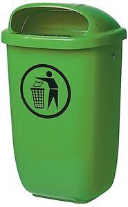 Aussen-Abfallbehaelter-Muelleimer-Abfalleimer-Abfallsammler-50-Ltr-Kunststoff-gruen