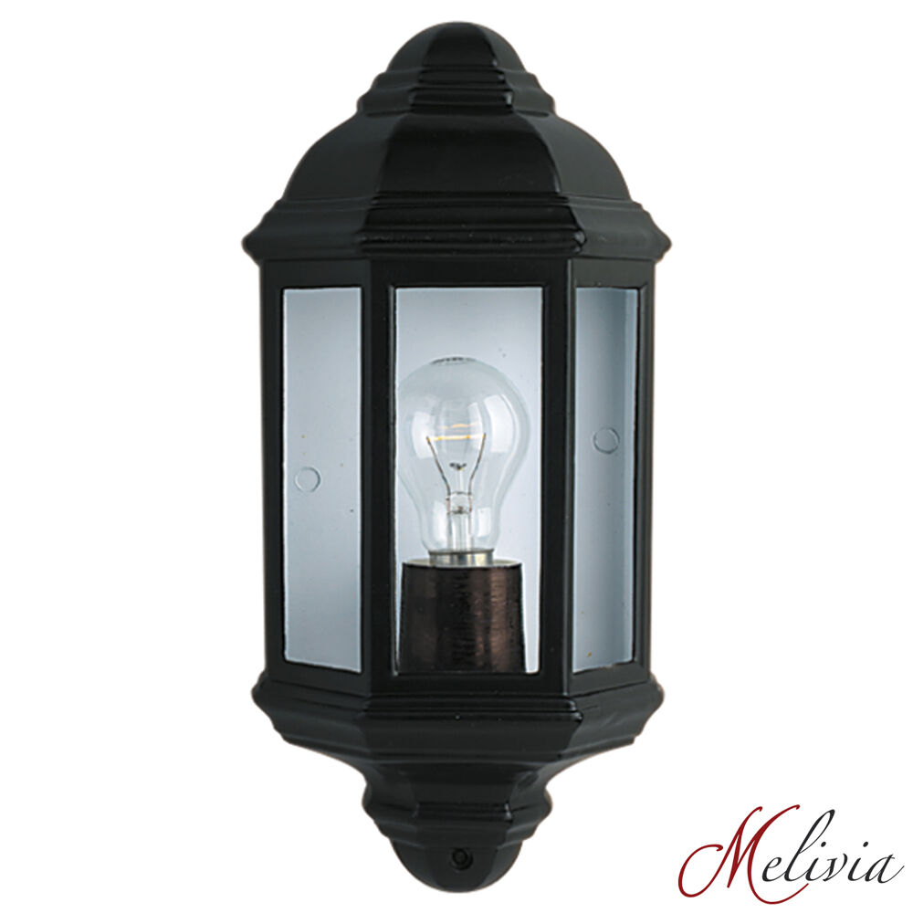 aussen wandlampe wandleuchte schwarz glas klar 1x60w. Black Bedroom Furniture Sets. Home Design Ideas