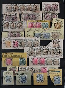 Austria-1890-9-range-of-postmarks-on-definitive-issues-with-shade-and-per-Stamps