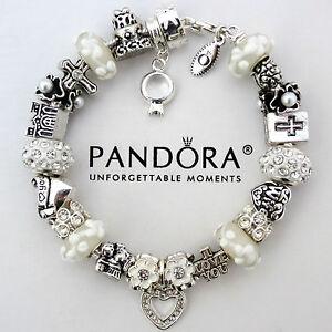 Authentic Pandora Bracelet White Wedding Wife Anniversary Hugging