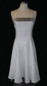 B-Darlin-White-Silver-Sequin-Spaghetti-Strap-Dress-3-4-Holiday-Party-Cruise-Cute
