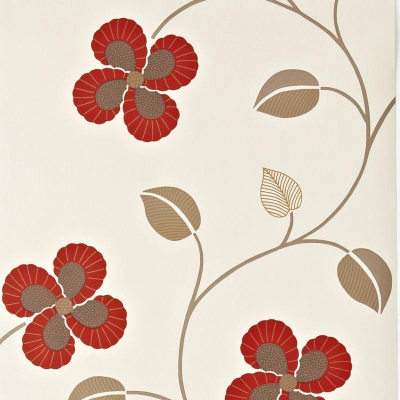 B q wallpaper windmill red floral design effect for Living room wallpaper b q
