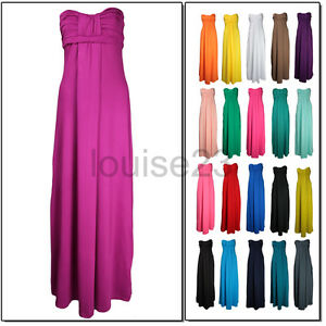 White Maxi Dress on B94 Ladies Grecian Bandeau Long Boho Maxi Dress 8 20   Ebay