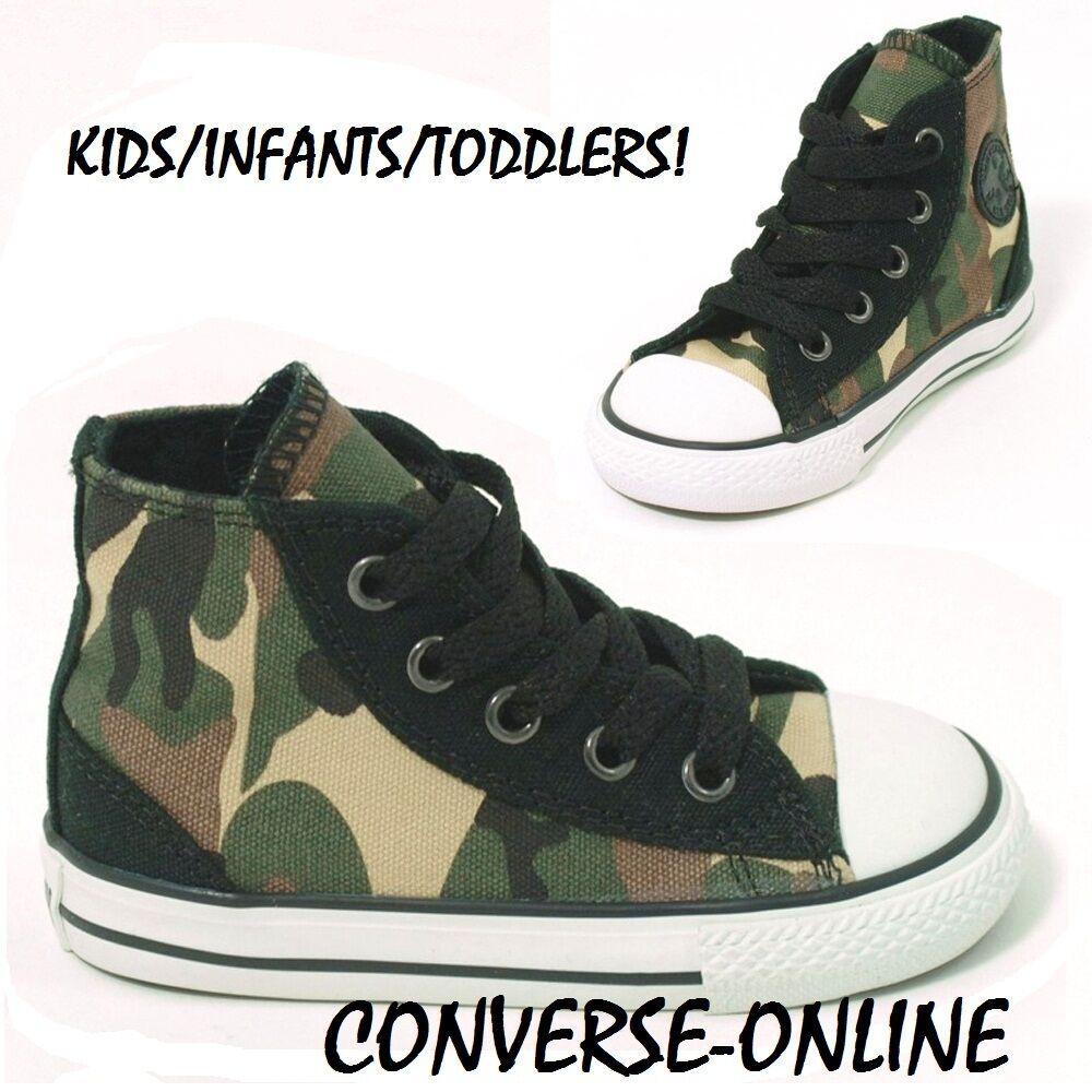 Babies Toddler Kids Boy Converse All Star Camo Hi Top Trainers Boot 23 Size UK 7
