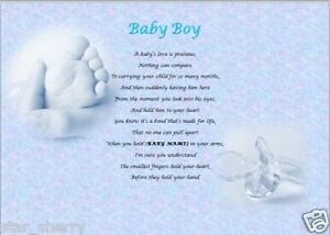 details about baby boy personalised poem laminated gift