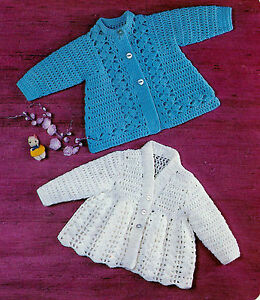 about BABY CROCHETED MATINEE COATS 2 PATTERNS DOUBLE KNIT (179