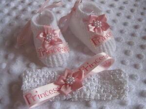 Newborn Girl Gift  on Girl Princess Pink Newborn Shoe Headband Outfit Clothing Bundle Gift