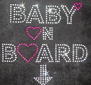 Baby on Board Iron on Rhinestone Crystal Bead T Shirt Transfer ...