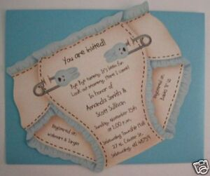 baby shower invitation cards contoured cut new diaper ebay