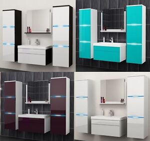 badm bel set 5tlg hochglanz mit led waschbecken spiegel badezimmer g ste wc luna ebay. Black Bedroom Furniture Sets. Home Design Ideas