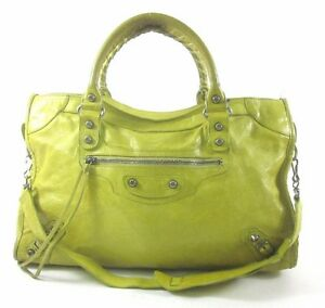 BALENCIAGA-Neon-Green-Yellow-Leather-Motorcycle-City-Tote-Shoulder-Handbag