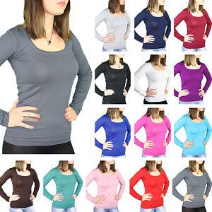 Bali Lingerie Damen Langarm Shirt Deep U Neck T Shirt