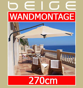 balkonschirm 270cm beige wandschirm ampelschirm sonnenschirm balkon wandmontage ebay. Black Bedroom Furniture Sets. Home Design Ideas