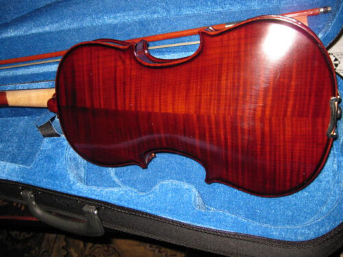 BANKRUPCY-FULL SIZE DARK FLAMED 4/4 GERMAN VIOLIN FIDDLE-WITH CASE AND BOW in Musical Instruments & Gear, String, Violin | eBay