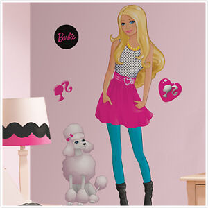 Barbie doll big wall mural decals poodle dog stickers for Barbie wall mural