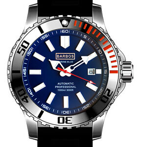 BARBOS MARINE BLUE AUTOMATIC 3300ft/1000m MENS DIVER WATCH  NEW