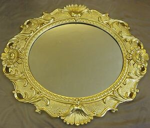 barock spiegel 90 x 80 cm 58 x 48 cm jugendstil wandspiegel oval in gold neu ebay. Black Bedroom Furniture Sets. Home Design Ideas